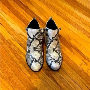 Lucky Brand snakeskin print booties